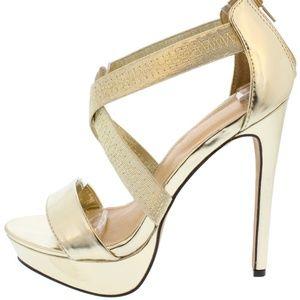 Shoes - Aphrodite Metallic Gold Platform Heel